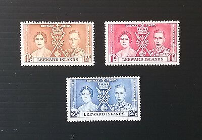 Leeward Islands, 1937 Coronation mounted mint set