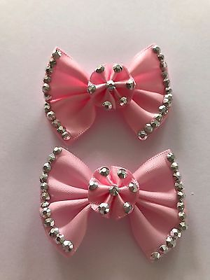 2 x Pink  Bow and Diamante  Ribbon flower Appliques Craft Wedding