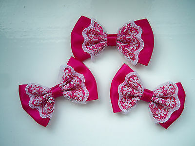 3 X Satin Cerise Pink  Ribbon Bows With Lace Appliques Craft DIY Accessories