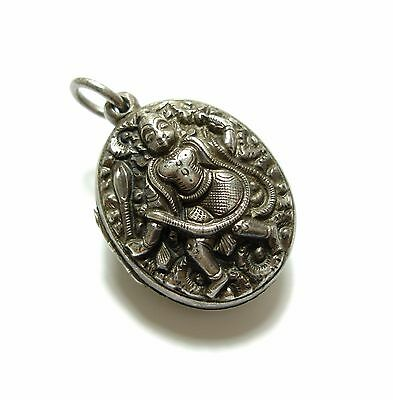 Stunning Antique Victorian Silver Anglo Indian Hindu God Locket Pendant (B10)