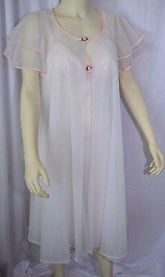 Vintage Sears Peignoir 2pc Nylon Sheer Nightgown Gown + Robe Set PINK Sz S
