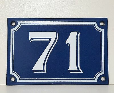 Vintage French Blue Enamel Porcelain Door House Gate Number Sign Plate 71