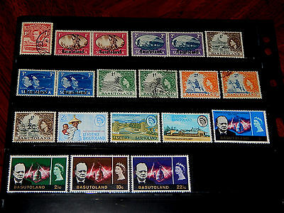 Basutoland stamps - 20 mint hinged and used early stamps - super !!