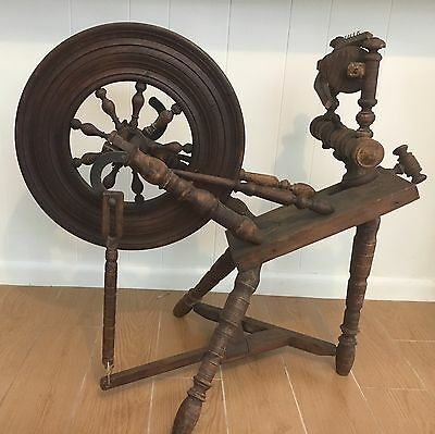 """Antique Spinning Wheel From Brittany France Circa 1840-1860 Wheel 18"""" Diameter"""
