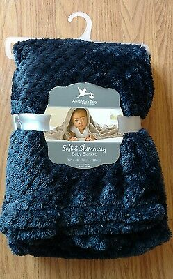 ADIRONDACK Baby Blanket Soft Shimmery Infant Lovey Toddlers Boy Girl Dark Blue