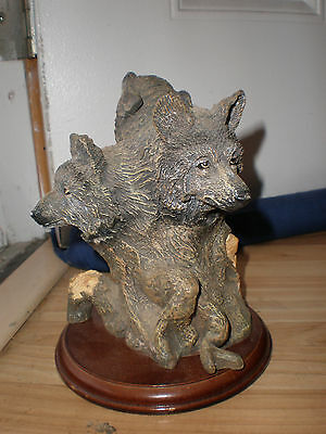 Wolf Head Bust Nature Wildlife Animal Statue Collectible Wild Figurine 3 heads