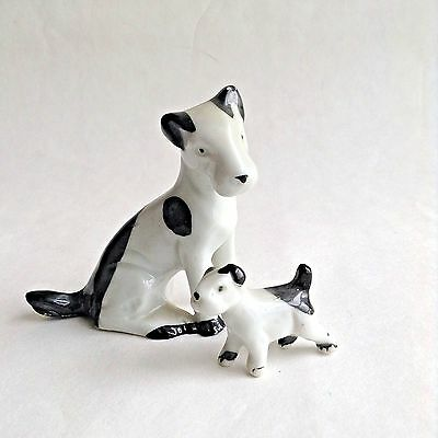 VTG Miniature Jack Russell Terrier Dog Porcelain Figurines Germany Black/White