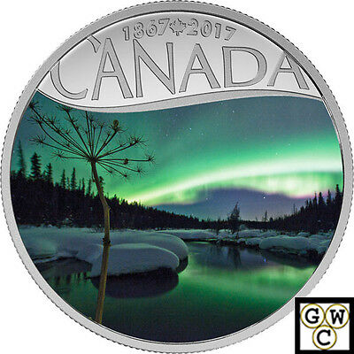 2017$10FINE SILVER 1/2oz CANADA'S 150TH:AURORA BOREALIS AT MCINTYRE CREEK(18065)