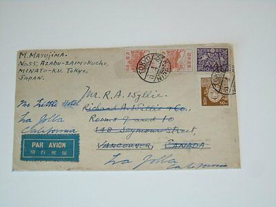 Stamp Pickers Japan 1948 Cover to Vancouver Canada VFU Uprated Imperf