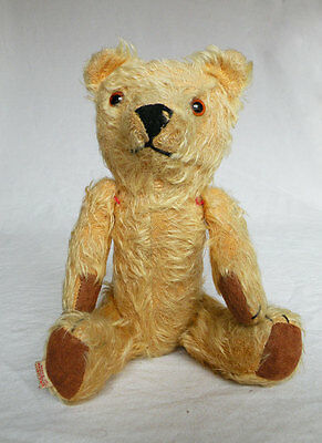 Lovely cute vintage straw filled antique teddy bear 11 inches tall jointed limbs