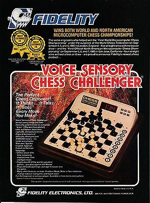 Vintage 1980 Fidelity Voice Sensory Chess Challenger print ad Great to frame!