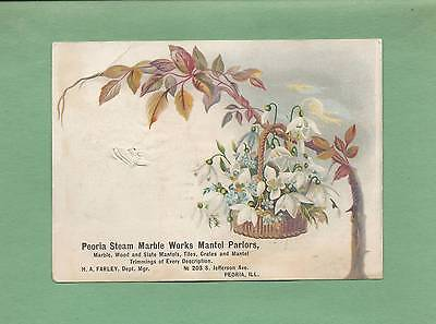 Lovely SNOW DROPS On STEAM MARBLE WORKS Of PEORIA, IL Victorian Trade Card