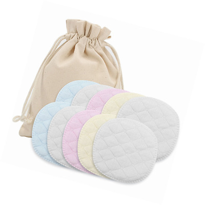 Almondcy Washable Organic Bamboo Nursing Pads - 10 Pack (5 pairs) - Reusable Bre