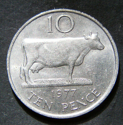 10P COIN 1977 GUERNSEY 10p COIN OLD LARGE TYPE COIN 10 NEW PENCE GUERNSEY COW