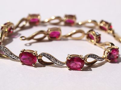 "9ct 375 yellow gold diamond ruby bracelet boxed 7.5"" long"