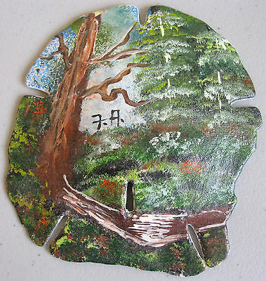Hand Painted Sand Dollar Forrest Creek Trees Flower Field Green Brown Blue Orang