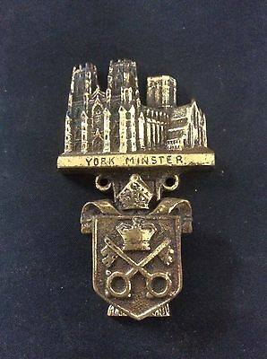 c1915 Antique Vintage Solid Brass YORK MINSTER Door Knocker Rd No Coat of Arms
