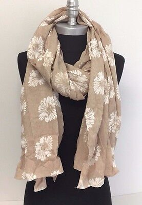 NEW Women's Pretty Soft Floral Print Classic SHAWL Long Scarf Stole WRAP Beige
