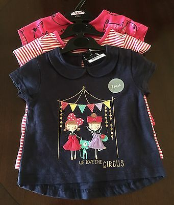 Bnwt Girls Tops X3 Age 12-18 Months