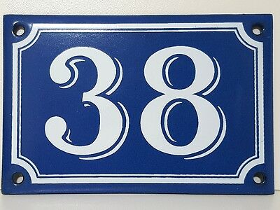 Vintage French Blue Enamel Porcelain Door House Gate Number Sign Plate 38