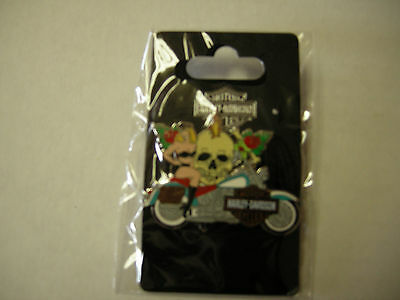 """Harley Davidson Tac Pin, Lady & Skull on Cycle, Silver, 2"""" x 1.5"""", Brand New"""