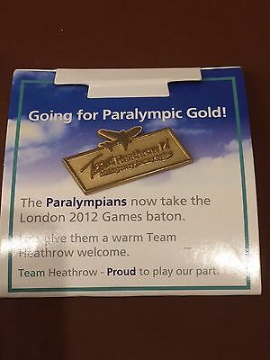 Olympic games 2012 London pin badge Team Heathrow. airport. Gold paralympic