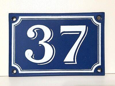 Vintage French Blue Enamel Porcelain Door House Gate Number Sign Plate 37
