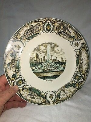Vintage Buckingham Fountain Chicago Souvenir Plate Marshall Fields Salem China