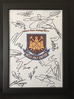 West Ham United FC NEW 2017 Hand Signed Framed A4 Autograph Sheet,Ayew,Cresswell