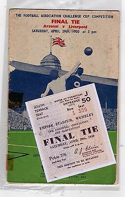 1950 fa cup final Arsenal v Liverpool programme/ticket