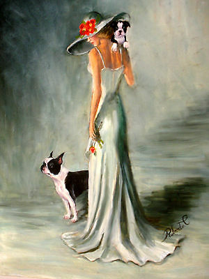"""Boston Terrier with lady    dog art print size 11""""x 14"""""""