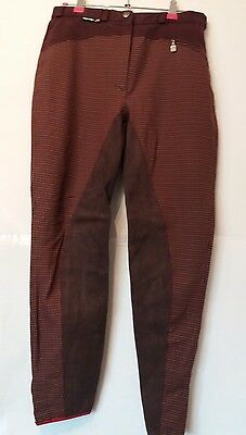 """Adult 28""""w 25""""l Burgundy Euro-Star Check Horse Riding Breeches  -  Uk 12"""