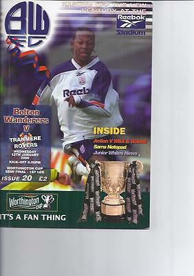 Bolton Wanderers v Tranmere Rovers League Cup Semi Final Programme 1999/00