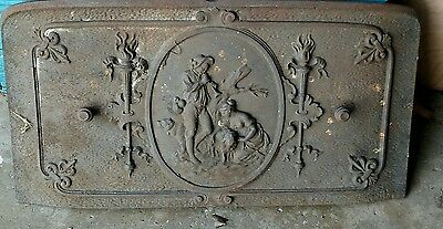 Antique Cast Iron Stove Door  Beautiful Decorative Piece
