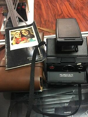 Vintage Polaroid SX-70 Instant Land Camera Model 3 with Leather Case And Manual
