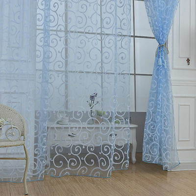 Blue Fashion Floral Tulle Voile Room Window Curtains Drape Sheer Scarf Valances