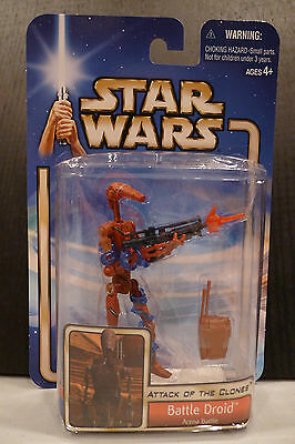 Star Wars - 2002 Saga Collection - Battle Droid (Red) Figure - Sealed On Card!