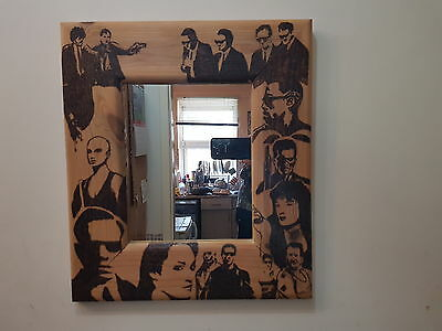 Pyrography mirror characters from 90s movies  eg matrix and pulp fiction