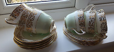 Royal Crown Pottery Tea Set - Green, White and Gold, 6 cups 6 saucers 4 plates