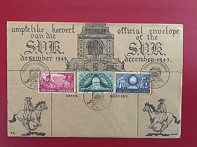 South Africa Fdc - Voortrekker Monument-Official Envelope - 1949