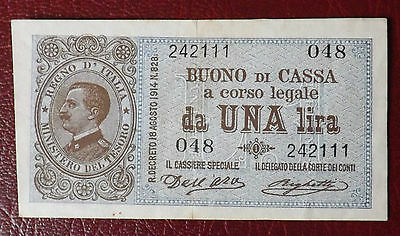 Italy 1914,  Bank Note, 1 Lire ""