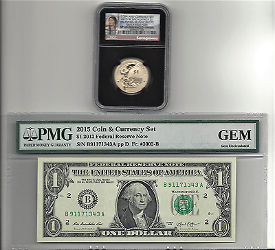 2015 US American $1 Coin and Currency Set - Certified NGC SP69 Early Releases