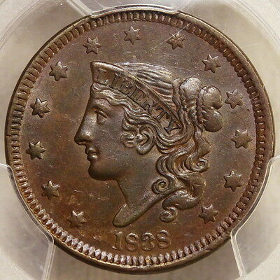 1838 Large Cent, Choice Almost Uncirculated PCGS AU-55, Original & Problem Free