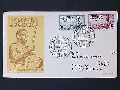GUINEA ESPANOLA FDC 1952 FIRST DAY COVER d2806