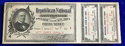 Press Pass Third Day RNC 1904 Republican National Convention Complete w/Envelope