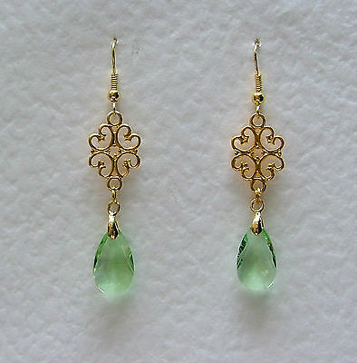 Lacy Filigree Victorian Style Light Green Glass Crystal Gold Plated Earrings