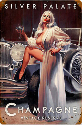 Silver Palate Champagne / Pin Up Metal Sign Greg Hildebrandt