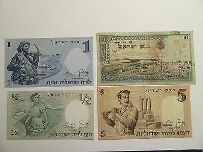 Lot of 4 Israel Bank Notes, 3 1958 + 1 1955, mixed denominations