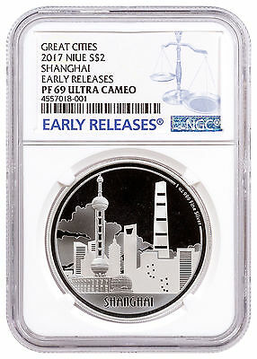 2017 Niue Great Cities - Shanghai 1 oz. Silver Proof $2 NGC PF69 UC ER SKU47825