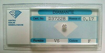 Diamante naturale certificato in blister ct. 0.17 F VS